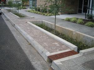 Sidewalk bioswale treats street runoff in Portland, OR
