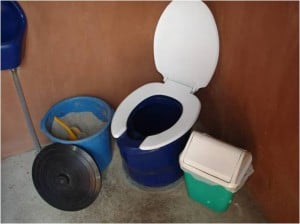 Dry toilet-adds mix of lime or ash and soil (photo from SARAR)