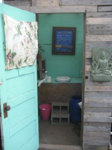 Composting toilet at the garden