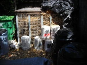 Composting cage used to compost humanure.